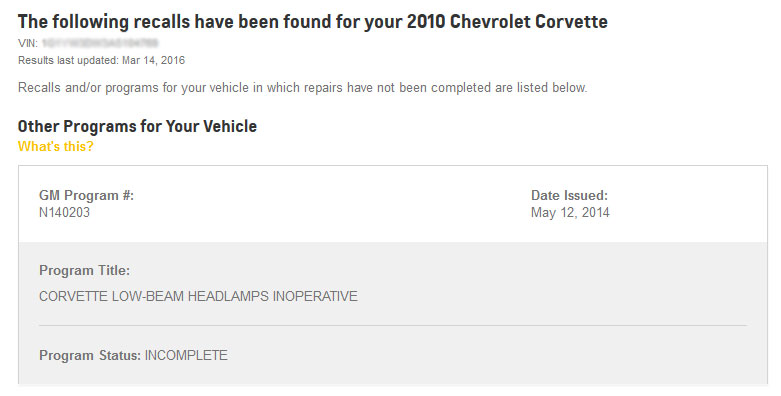 Rückruf Corvette C6